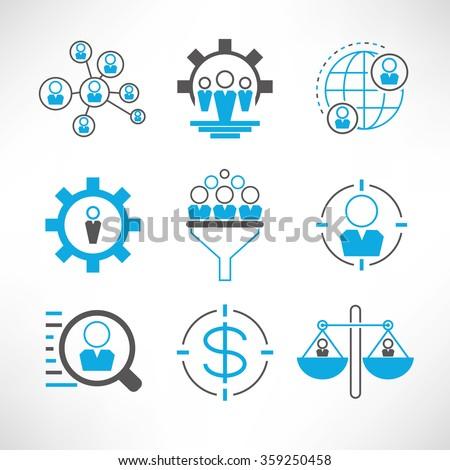 business management icons set, organization management icons