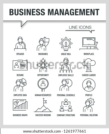 BUSINESS MANAGEMENT LINE ICONS #1261977661
