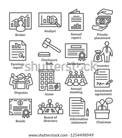 Business management line icons. Pack 37.