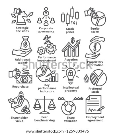 Business management line icons. Pack 42.