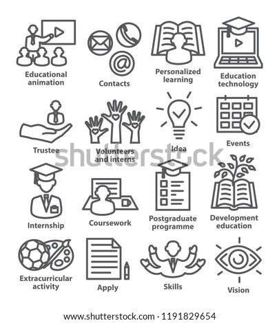 Business management line icons. Pack 35. Icons for business, education, career, strategy, training and marketing.