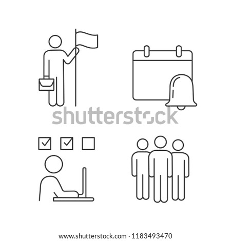 Business management linear icons set. Achievement, reminder, online test, team. Thin line contour symbols. Isolated vector outline illustrations. Editable stroke