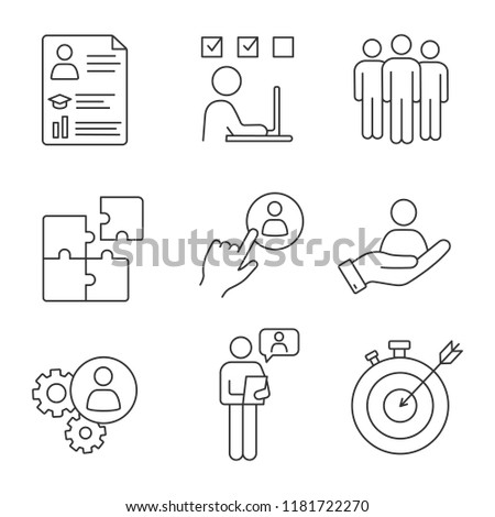 Business management linear icons set. Resume, task solving, team, solution, staff hiring button, smart goal, online interview, teamwork, person in hand. Isolated vector illustrations. Editable stroke