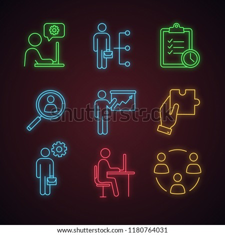 Business management neon icons set. Technical chat, employee skills, task planning, staff searching, presentation, solution, manager, office, teamwork. Glowing signs. Vector isolated illustrations