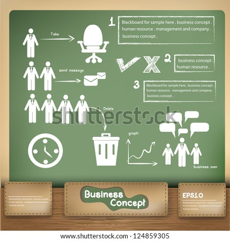 Business management on blackboard background,vector