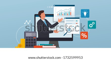 Business management online courses and consulting: executive connecting online and analyzing financial charts