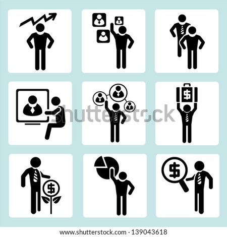 business management, organization development and business people icons set