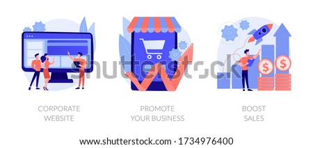 Business management. Startup lunch, sales and profit increasing, company webpage. Corporate website, promote your business, boost sales metaphors. Vector isolated concept metaphor illustrations.