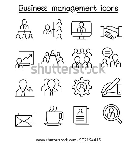 Business management & Teamwork icon set in thin line style