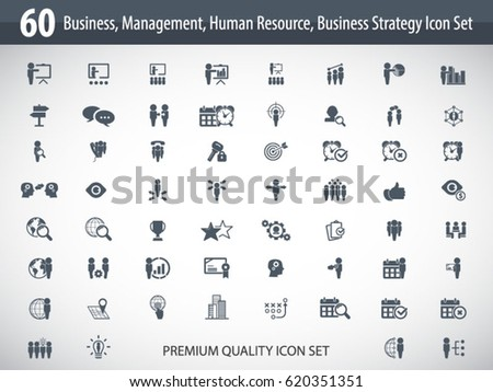 Business management, training, strategy or human resource icon set. EPS 10 vector. Can be used for any project.