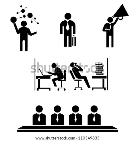 business management, working icon set