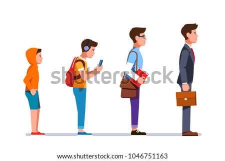 Business manager person evolution progression from kid to teen, student, to grownup business man. Professional development stages of young man trough life. Flat character isolated vector illustration