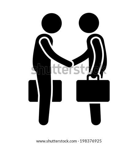 Business Mans Handshake. Greetings Gesture Stick Figure Pictogram Icon. Vector illustration