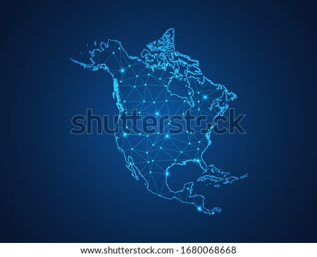 Business map of North America modern design with polygonal shapes on dark blue background, simple vector illustration for web sitedesign, digital technology concept. Stock photo ©