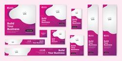 Business marketing google ad banner set template premium vector