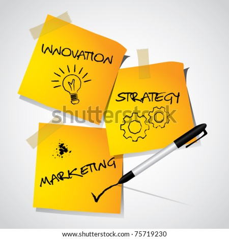 Business marketing strategy concept, illustrated strategy on memo stick notes, vector illustration