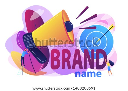 Business marketing strategy, firm recognition web banner template. Brand name, brand identity system, product branding services concept. Bright vibrant violet vector isolated illustration