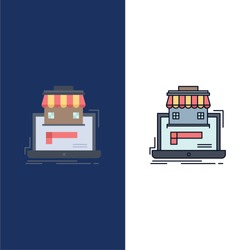 business, marketplace, organization, data, online market Flat Color Icon Vector