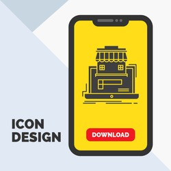 business, marketplace, organization, data, online market Glyph Icon in Mobile for Download Page. Yellow Background