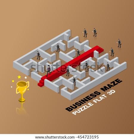 business maze concept 3d isometric flat design vector illustration