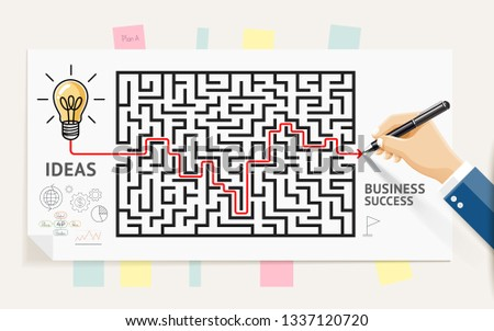 Business maze conceptuel design. Businessman hand drawing line through maze labyrinth and think about solution to success. Graphic vector illustrations. Stockfoto ©