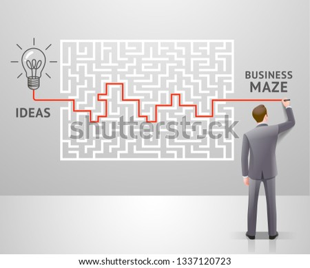 Business maze conceptuel design. Businessman with a labyrinth and think about solution to success. Graphic vector illustrations. Stockfoto ©