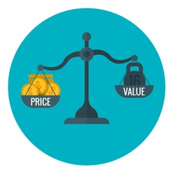 Business measurement of price and value with scale, pricing for profit vector concept