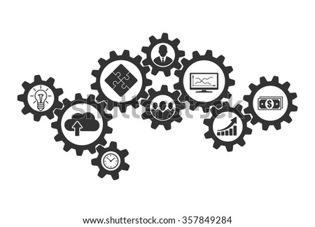 Business mechanism concept of cooperation and communications. Contacting gears for teamwork design and business problems collaboration solution. Vector infographic template with gear and icons. Foto d'archivio ©