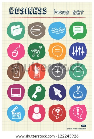 Business, media and social network web icons set drawn by chalk. Hand drawn vector elements pack isolated on paper