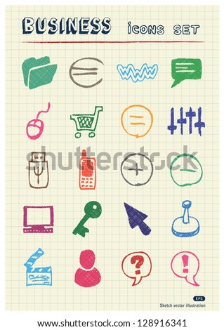Business, media and social network web icons set drawn by color pencils. Hand drawn vector elements pack isolated on paper
