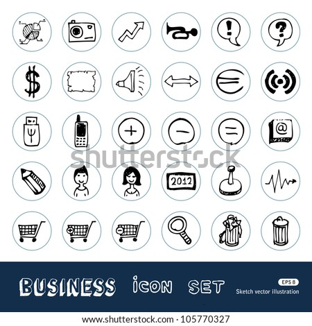 Business, media and social network web icons set. Hand drawn sketch illustration isolated on white background