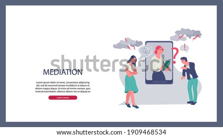 Business mediation in negotiations website banner template with mediator resolving conflict online and arguing people, flat vector illustration. Business people referee and find compromise.