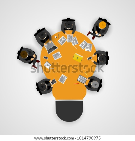 Business meeting and brainstorming. Idea and business concept for teamwork. Infographic template with people, team and light bulb table. Vector illustration