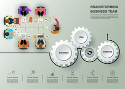 Business meeting and brainstorming. Idea and business concept for teamwork. Vector illustration info graphic template with people, team, light bulb.