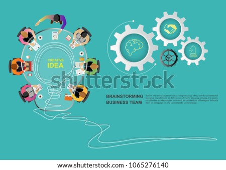 Business meeting and brainstorming. Idea and business concept for teamwork. Vector illustration infographic template with people, team, light bulb and icon.