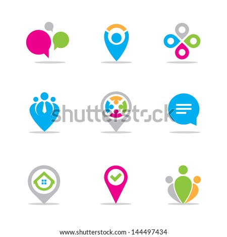 Business meeting and locating logo symbol icon set