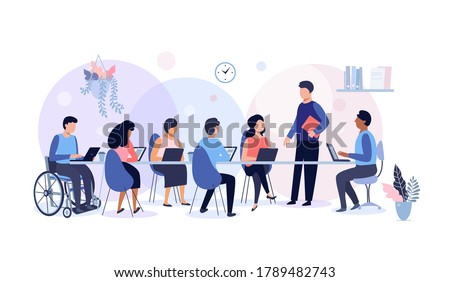 Business meeting and team work, group of people working in office, planning, workflow, time management and presentation concept, vector illustration.