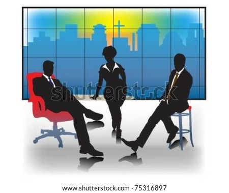 Business meeting and the background silhouette of the town.