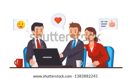 Business meeting behind work desk with laptop computer. Business people team sitting together looking at pc screen discussing done job, expressing appreciation. Flat vector character illustration
