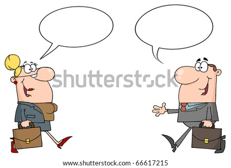 Business Meeting Between A Woman And Man With A Word Balloon