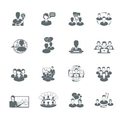 Business meeting black icons set of presentation teamwork management elements isolated vector illustration