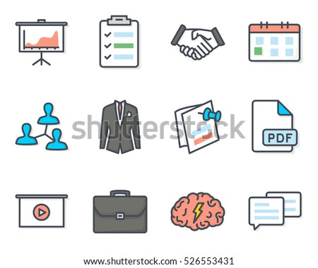 Business Meeting Colored Filled Icon Vector Set Pack