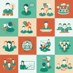 Business meeting flat icons set of collaboration planning partnership elements isolated vector illustration.