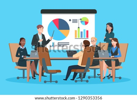 Business meeting. Flat people on presentation conference. Businessman at project strategy infographic. Team seminar vector concept