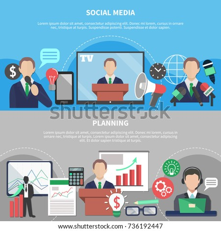 Business meeting horizontal banners with compositions of flat social and financial pictograms human characters and text vector illustration