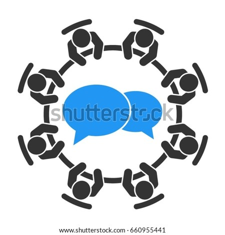 Business meeting icon. Group of eight business people sitting around a table brainstorming and working together on new creative projects.