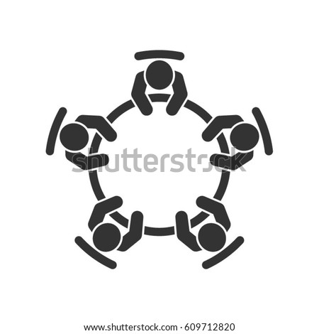 Business meeting icon. Group of five people sitting around a table brainstorming and working together. Top view vector design.