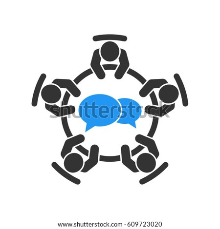 Business meeting icon. Group of five people sitting around a table brainstorming and working together on new creative projects.