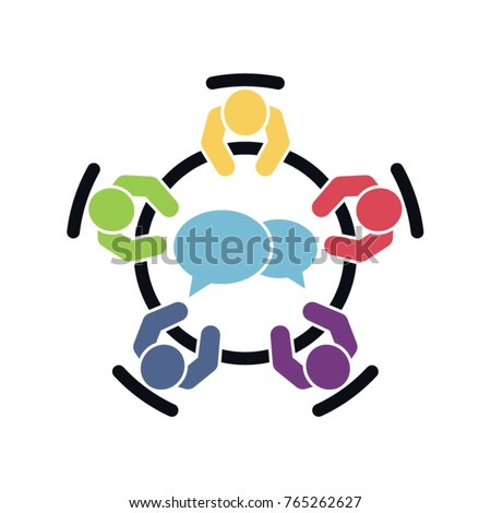 Business meeting icon. Group of five people sitting around a table brainstorming and working together for a new project. Top view vector Eps10.