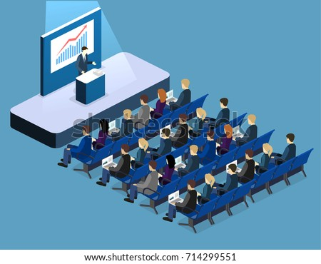 Business meeting in an office Business presentation meeting in conference hall. People listen to speakers. Flat 3D illustration.